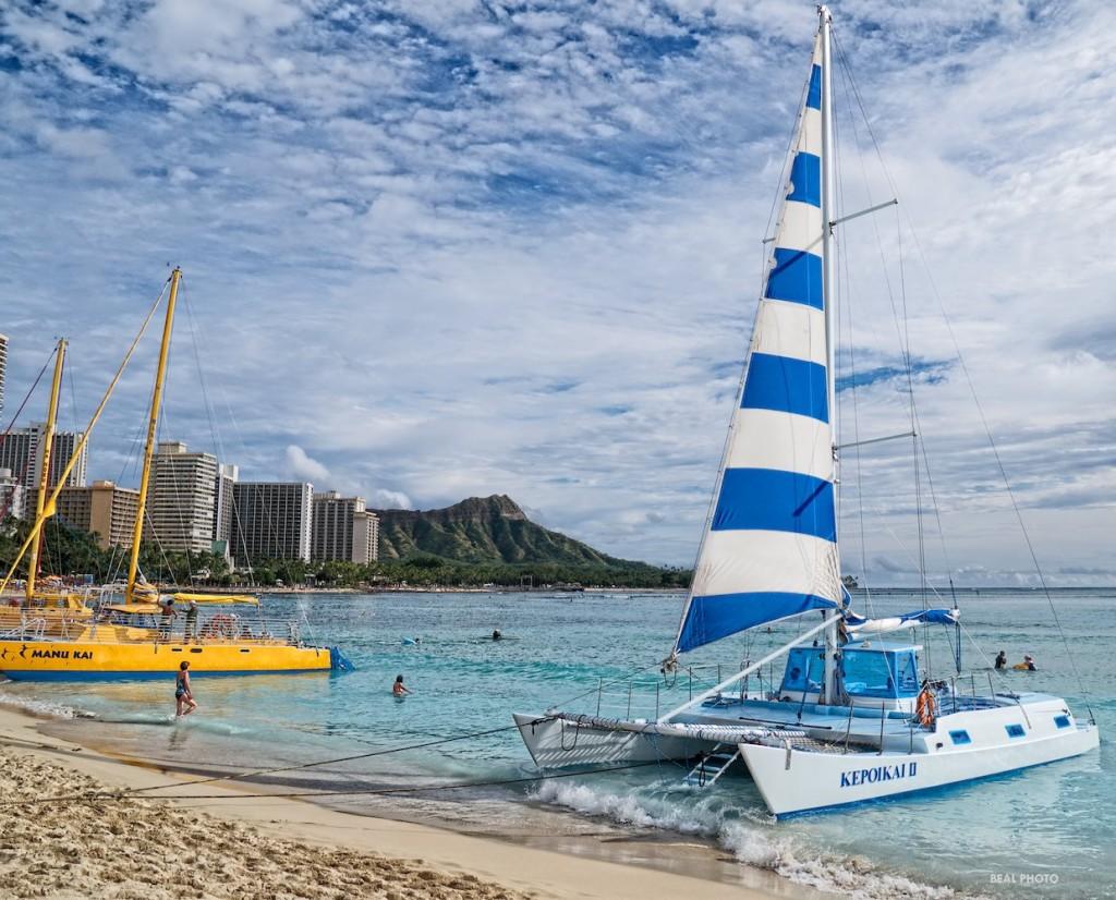 Catamarans at Waikiki Beach