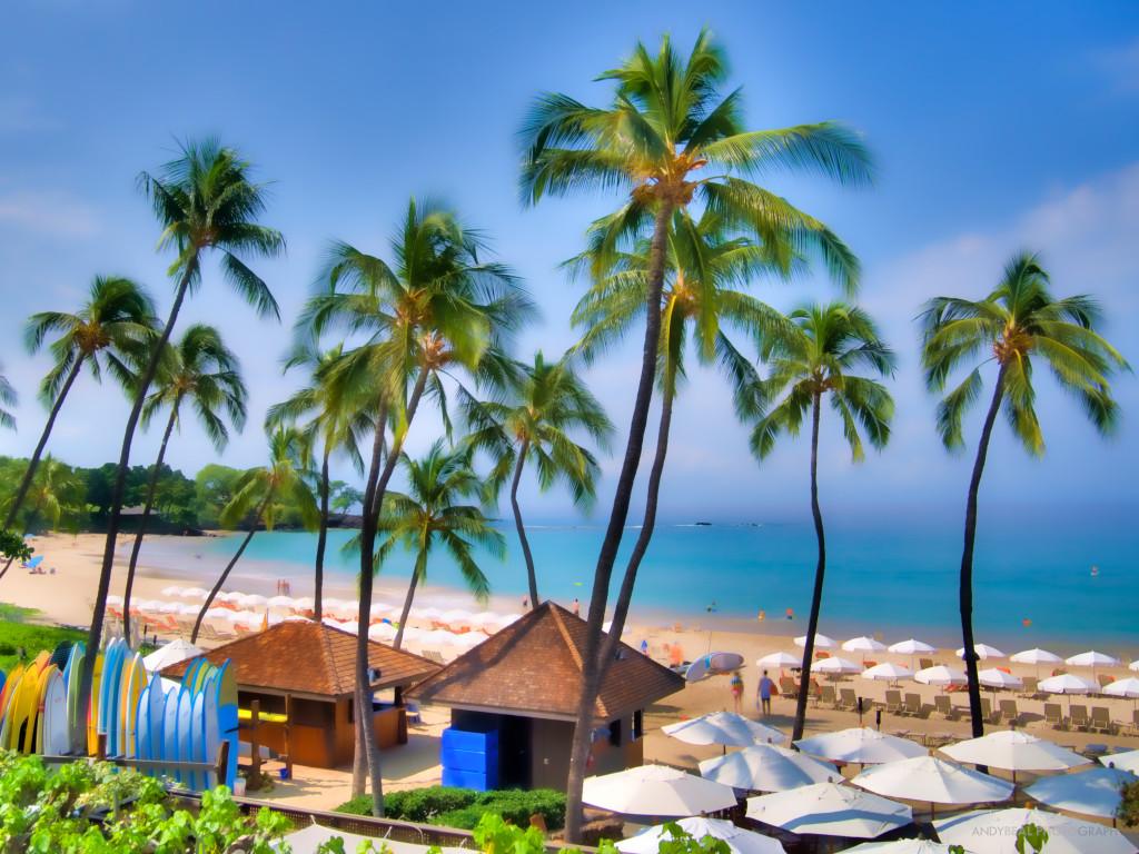 Watercolor Mauna Kea Beach Landscape Seascape